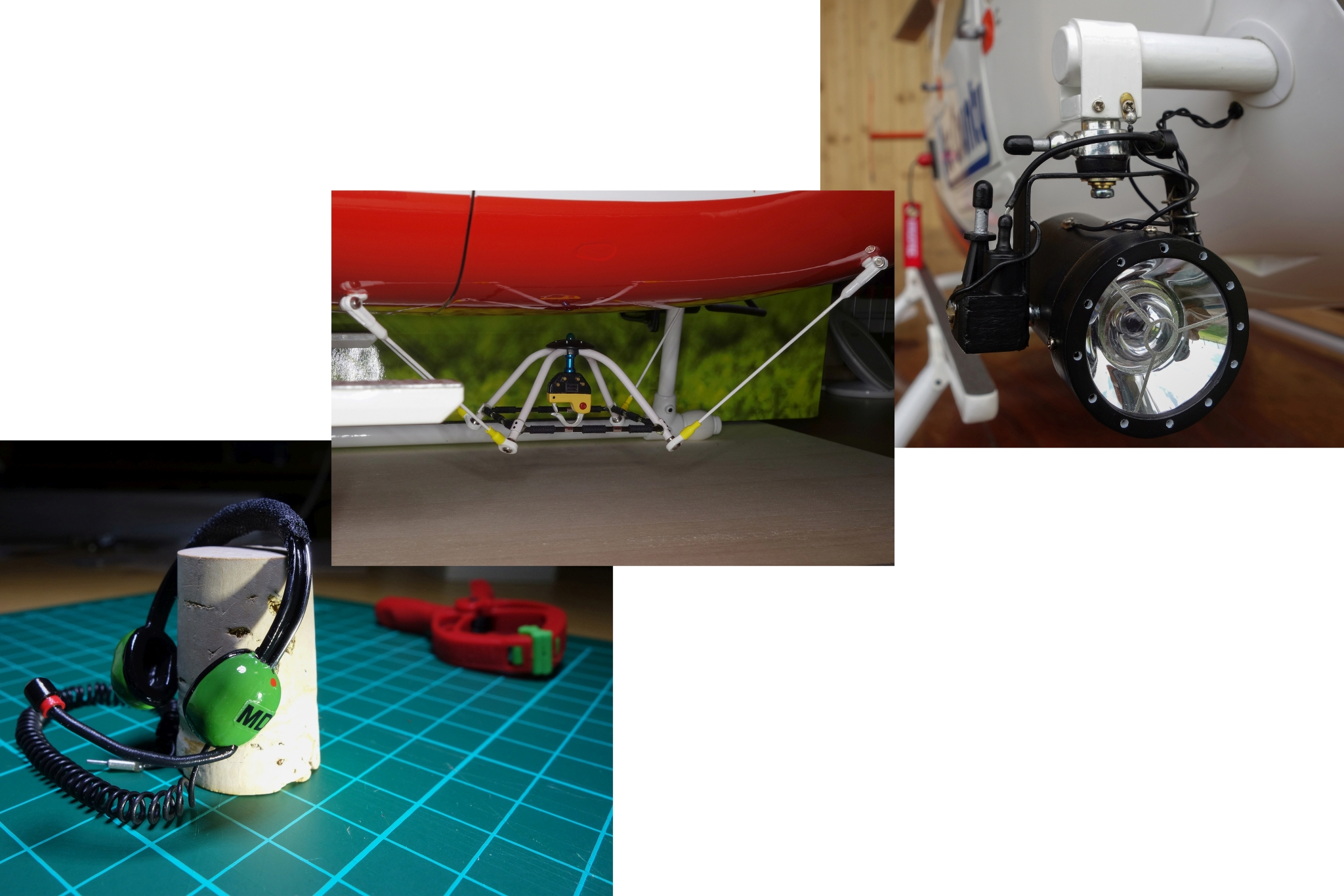 Selbst gebautes Scalezubehör (Kopfhörer, Lasthaken, Suchscheinwerfer)